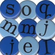 Blue Alphabet Brads