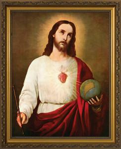 Sacred Heart Holding the Globe Framed Art