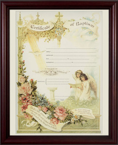 Certificate of Baptism Cherry Framed