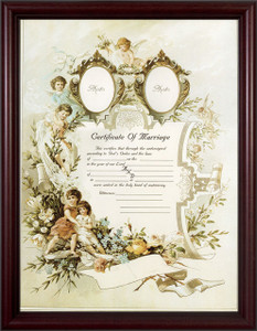 Certificate of Marriage II Cherry Framed