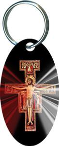 San Damiano Divine Mercy Oval Keychain