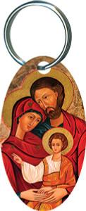 Holy Family Oval Keychain
