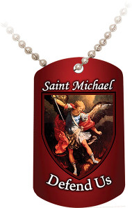 St. Michael Defend Us Red Dog Tag