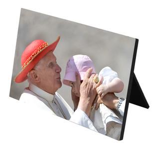 Pope Benedict Kissing Infant Horizontal Desk Plaque