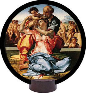 Holy Family by Michaelangelo Round Desk Plaque