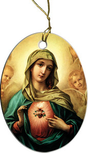 Immaculate Heart Surrounded by Angels Ornament