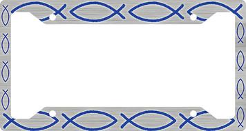 Ichthus Fish Blue Plate Frame