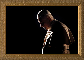 Pope Benedict in Prayer Matted - Black Framed Art