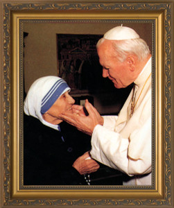 Pope John Paul II with Mother Teresa (younger) Framed Art