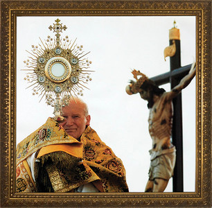 Pope John Paul II with Monstrance - Standard Gold Framed Art