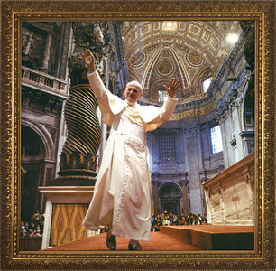 Pope John Paul II in St. Peter's Framed Art