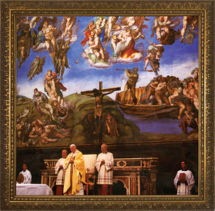 Pope John Paul II in Sistine Chapel Framed Art