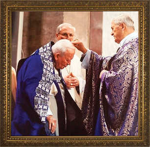 Pope John Paul II Receiving Ashes Framed Art