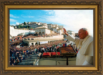 Pope John Paul II Speaking in Assisi Framed Art
