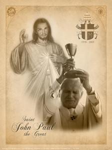 St. John Paul II and Divine Mercy Poster