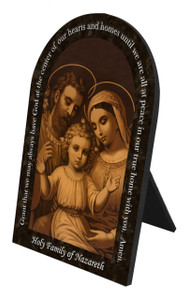 Holy Family of Nazareth Prayer Arched Desk Plaque