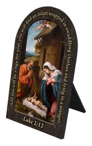 Nativity Prayer Arched Desk Plaque