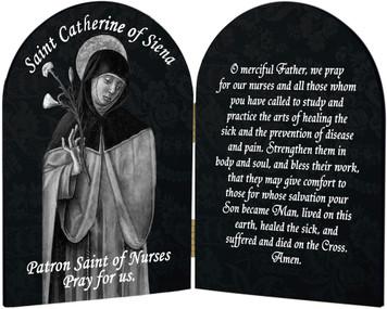 St. Catherine Nurse's Prayer Arched Diptych
