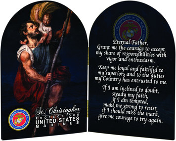 Marines St. Christopher II Arched Diptych