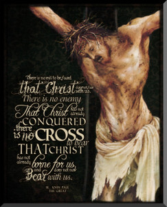 Crucifixion with JPII Quote Graphic Wall Plaque