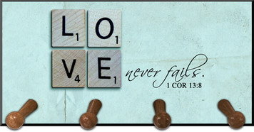 Love Never Fails Keychain Holder