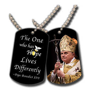 Pope Benedict With Cross Commemorative Dog Tag