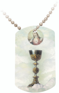 Eucharist with Sacred Heart Dog Tag