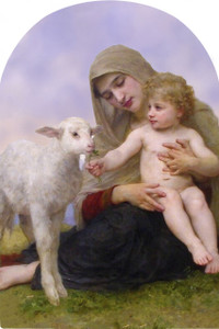 Virgin and the Lamb Arched Magnet