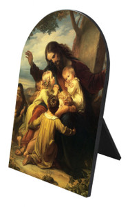 Jesus with the Children Arched Desk Plaque