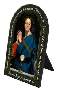 Madonna of the Host Prayer Arched Desk Plaque
