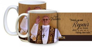 Pope Francis w/ San Damiano Quote Mug