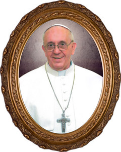 Pope Francis Formal Canvas in Oval Frame
