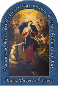 Mary Undoer of Knots Arched Magnet (with Prayer)