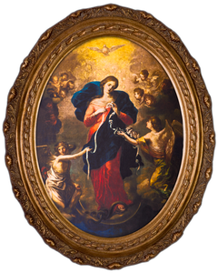 Mary Undoer of Knots Canvas in Oval Frame