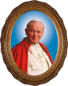 Pope John Paul II Sainthood Formal Canvas in Oval Frame