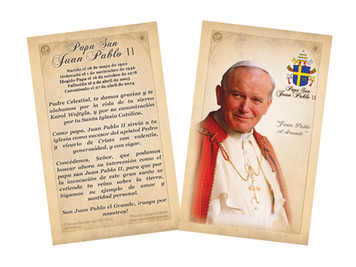 Spanish Pope John Paul II Sainthood Commemorative Holy Card with Prayer