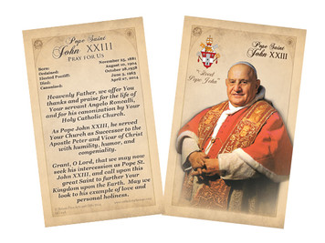 Pope John XXIII Sainthood Commemorative Holy Card with Prayer
