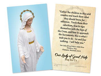 Our Lady of Good Help Quote Holy Card