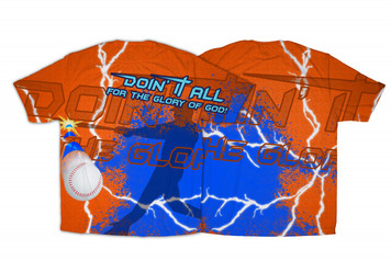 """""""Doing It All"""" Baseball Graphic Poly T Shirt"""