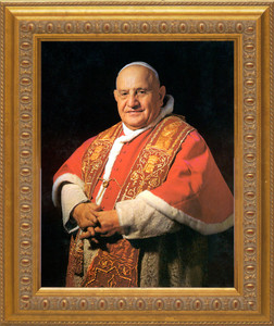 Pope John XXIII Sainthood Canvas Portrait: Ornate Gold Frame