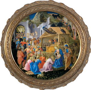 Adoration of the Magi Canvas - Round Framed Art