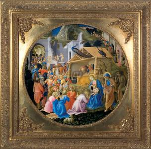 Adoration of the Magi Canvas - Gold Spandrel Framed Art