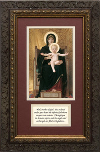 Virgin and Child Matted with Prayer - Ornate Dark Framed Art