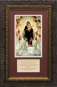 Queen of Angels Matted with Prayer - Ornate Dark Framed Art