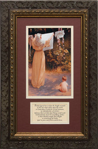 Polish Madonna Matted with Prayer - Ornate Dark Framed Art