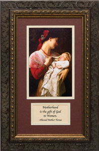 Maternal Admiration Matted with Prayer - Ornate Dark Framed Art