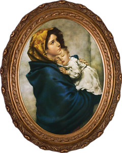 Madonna of the Streets Canvas - Oval Framed Art