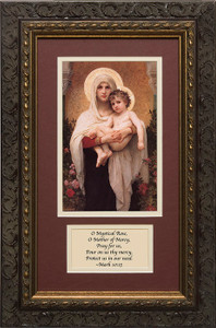 Madonna of the Roses Matted with Prayer - Ornate Dark Framed Art