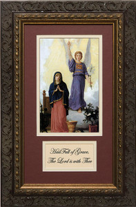 L'Annunciation Matted with Prayer - Ornate Dark Framed Art