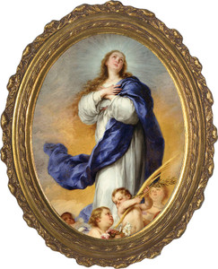 Immaculate Conception Canvas - Oval Framed Art